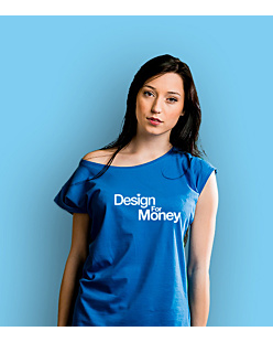 Design for money T-shirt damski Niebieski XS