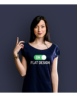 Flat Design: ON T-shirt damski Granatowy XXL
