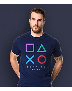 Playstation born to play T-shirt męski Granatowy S