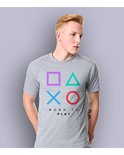 Playstation born to play T-shirt męski Jasny melanż S