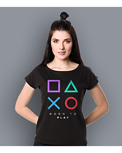 Playstation born to play T-shirt damski Czarny L