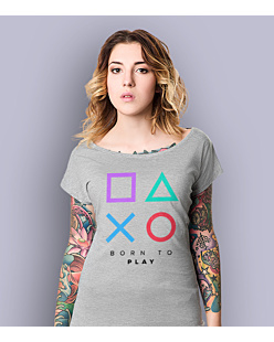 Playstation born to play T-shirt damski Jasny melanż XS