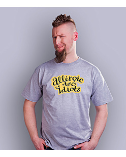 Allergic to Idiots T-shirt męski Jasny melanż S