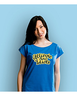 Allergic to Idiots T-shirt damski Niebieski XS