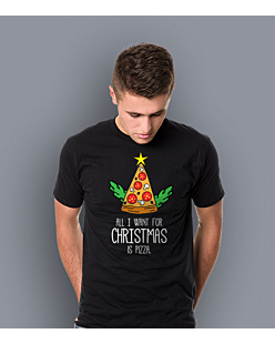 All I Want For Christmas is Pizza T-shirt męski Czarny L