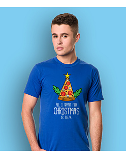 All I Want For Christmas is Pizza T-shirt męski Niebieski M