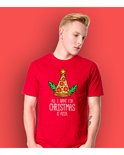 All I Want For Christmas is Pizza T-shirt męski Czerwony S
