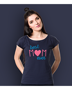 Best Mom Ever T-shirt damski Granatowy XS