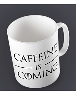 Caffeine is Coming Kubek Biały Universal