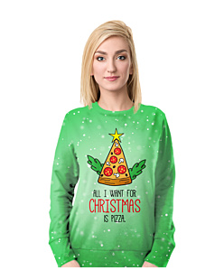Christmas Pizza Fullprint Bluza Fullprint Damska S