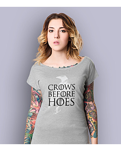 Gra o Tron - Crows Before Hoes T-shirt damski Jasny melanż M