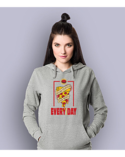 Drink pizza Eat beer Damska bluza z kapturem Jasny melanż XL
