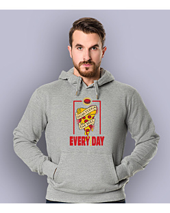 Drink pizza Eat beer Męska bluza z kapturem Jasny melanż XXL