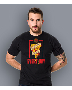 Drink pizza Eat beer T-shirt męski Czarny XL