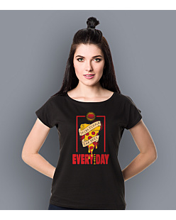 Drink pizza Eat beer T-shirt damski Czarny XXL