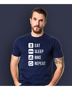 Eat Sleep Bike Repeat T-shirt męski Granatowy S