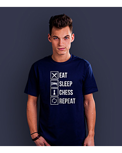 Eat Sleep Chess T-shirt męski Granatowy S