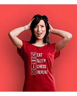 Eat Sleep Chess T-shirt damski Czerwony XS