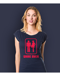 Game Over T-shirt damski Granatowy XS