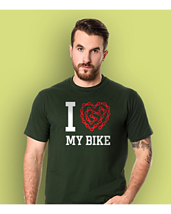 I love my bike KSZ T-shirt męski Ciemnozielony S