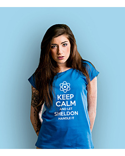 KC let sheldon hadle it T-shirt damski Niebieski XS