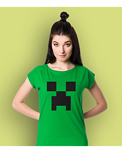 Minecraft Creeper T-shirt damski Zielony XS