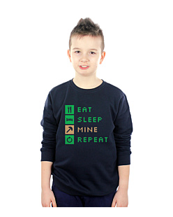 Minecraft Eat Sleep Mine Repeat Bluza sweatshirt dziecięca Granat 168