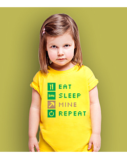 Minecraft Eat Sleep Mine Repeat T-shirt dziecięcy Żółty 146