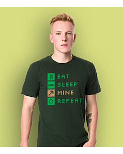 Minecraft Eat Sleep Mine Repeat T-shirt męski Ciemnozielony S
