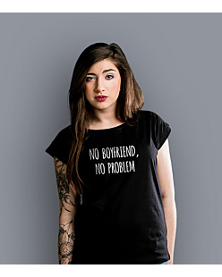 No boyfriend No problem T-shirt damski Czarny XS