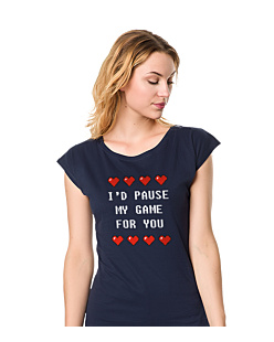 Pause game for you  T-shirt damski Granatowy XXL