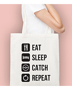 Eat Sleep Catch Repeat Torba na zakupy Naturalna Universal