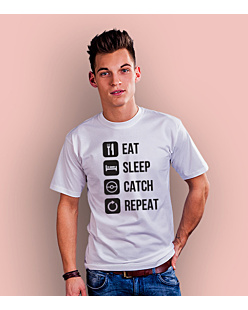 Eat Sleep Catch Repeat T-shirt męski Biały S