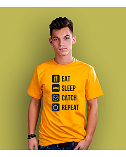 Eat Sleep Catch Repeat T-shirt męski Żółty XXL