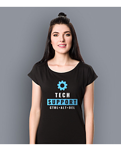Tech Support T-shirt damski Czarny XS