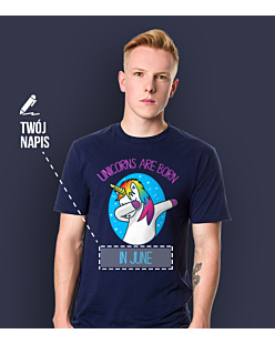 Unicorns are born in June T-shirt męski Granatowy S