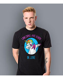 Unicorns are born in June T-shirt męski Czarny S