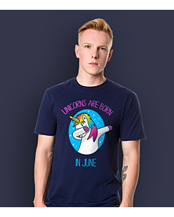 Unicorns are born in June T-shirt męski Granatowy XXL