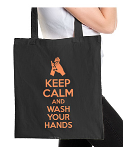 Keep Calm and Wash Your Hands Torba na zakupy Czarna Universal