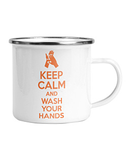 Keep Calm and Wash Your Hands Kubek Emaliowany Universal