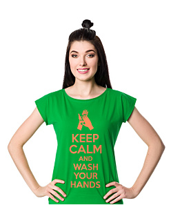 Keep Calm and Wash Your Hands T-shirt damski Zielony XS