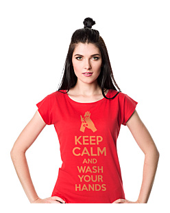 Keep Calm and Wash Your Hands T-shirt damski Czerwony XS