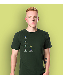 Windows Desktop T-shirt męski Ciemnozielony S