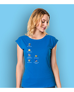 Windows Desktop T-shirt damski Niebieski XS