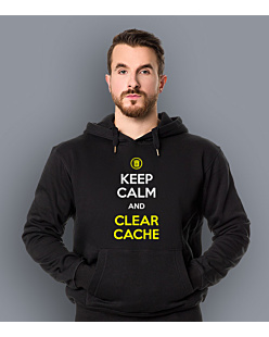 Keep calm and clear cache Męska bluza z kapturem Czarna S