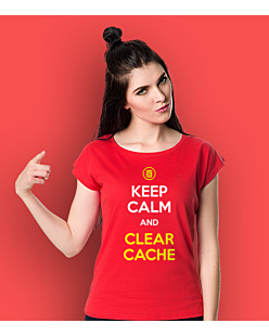 Keep calm and clear cache T-shirt damski Czerwony XS