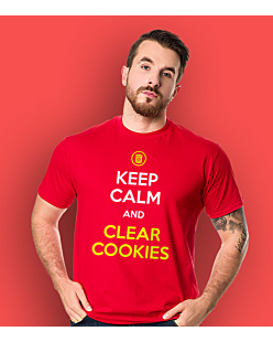 Keep calm and clear cookies T-shirt męski Czerwony S