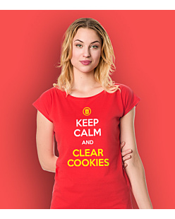Keep calm and clear cookies T-shirt damski Czerwony XS