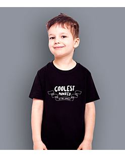 Coolest monkey in the jungle T-shirt dziecięcy Czarny 110