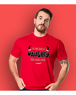 I'm the kind of naughty that santa likes T-shirt męski Czerwony S